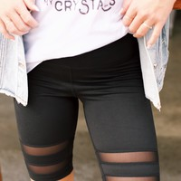 Short Mesh Legging, Black