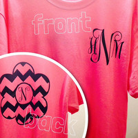 Long Sleeve T-shirt with Front Pocket Monogram and Design on the back