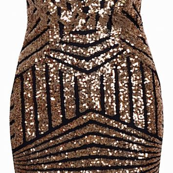 Fausta Geo Sequined Strapless Bustier Dress - More Colors