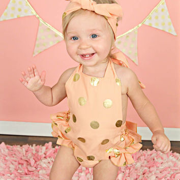 Coral & Gold Polka Dot Baby Bubble Ruffle Romper Sun Suit