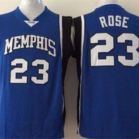 Best Quality 23 Derrick Rose College Jerseys Memphis Tigers Shirt Uniform Rev 30 New Material Team Color Blue Fashion Pure Cotton Breathable