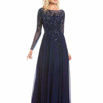 Navy Blue Long Sleeves Evening Dresses A Line Formal 2016 Beaded Appliqued Boat Neck Women robe de soiree longue