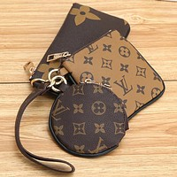 Samplefine2 Louis Vuitton LV Key Bag Coin purse Small Wallet Monogram Three Piece Suit Brown&Coffee