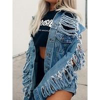 Women Cut Out Turndown Collar Oversized Destroyed Denim Jacket Single Breasted Ripped Jean Jacket Fashion Coat