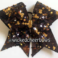 Cheer Bow - Black & Gold Reversible Sequins