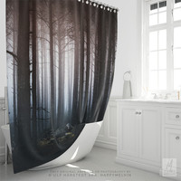 Shower Curtain With Moody Forest Photography Print, Home Decor, Nature, Original Photography, Bathroom Decor, Wanderlust, Woods, Trees, Gift
