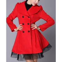 Stylish Turn-Down Collar Long Sleeve Double-breasted Tulle Spliced Dress Coat For Women