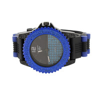 Blue Simulated Diamonds Watch Bullet Design Band