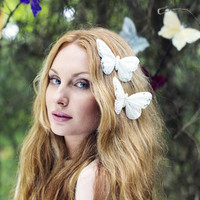 White Butterfly Clip, Butterfly Hair Clip, Glitter White Butterfly Hair Clip Hair Accessory