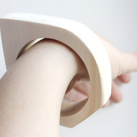 15 mm Wooden bangle unfinished rounded triangular - natural eco friendly NE2-15