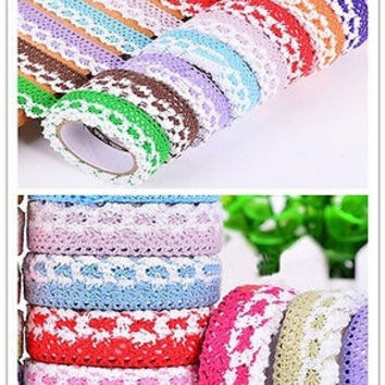 New Fashion Cotton Lace Roll Ribbon Knit Adhesive Tape Sticker Craft Decoration Home Accessories = 1930335940