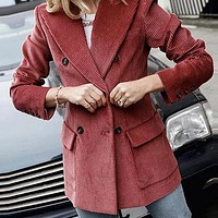 Fashion Double Breasted Blazer Women Jacket Female Slim Fit Corduroy Jackets and Coats Lady Outerwear