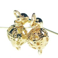 Gold Plated Filigree Ball Earrings, Dainty And Lightweight