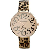 BOMBSHELL Women's BS0838RC Oversized Rose Gold Tone Cheetah Print Expansion Pink Dial Watch