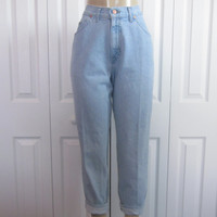 Vintage Hipster High Waisted Jeans, Chic Mom Jeans, High Waist Denim Jeans, Womens 10 Petite, Waist 30 Light Wash Denim Jeans