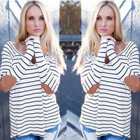 V-Neck Wrist Patch Stripe Shirt  B0014055