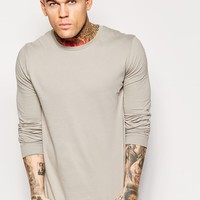 ASOS Longline Long Sleeve T-shirt With Crew Neck