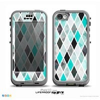 The Graytone Diamond Pattern with Teal Highlights Skin for the iPhone 5c nüüd LifeProof Case
