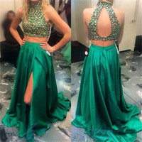Two Piece High Neck Beaded Prom Dresses