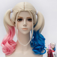 45cm Short Harleen Quinzel Harley Quinn Color Mixed Synthetic Anime Cosplay Wig