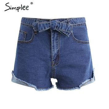 Hot Shorts Simplee Denim  women buttons Elastic bow fringe blue high waist  Casual 2017 pockets sexy mini short jeans AT_43_3