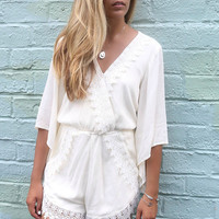 Marina Bay Cream Crinkle Lace Detail Romper