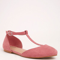 Faux Suede Braided T-Strap Flats (Wide Width)