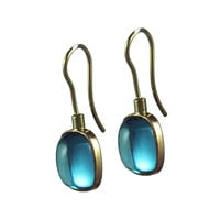 Rectangular Cushion Earrings Blue Topaz