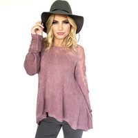 Good For You Knit Blouse In Plum