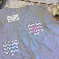 Monogram Pocket Tee with Functional Pocket