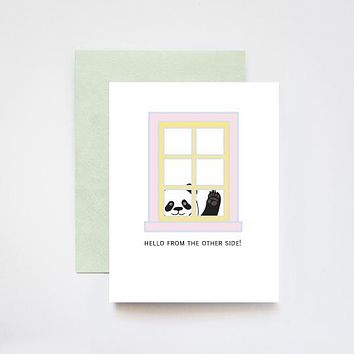 Hello From the Other Side Panda Window Greetings Quarantine [ilootpaperie]