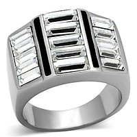 Mens Stainless Steel Rings TK1185 Stainless Steel Ring with Crystal