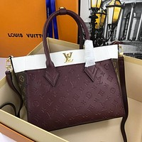 LV Louis Vuitton Women Leather Shoulder Bags Satchel Tote Bag Handbag Shopping Leather Tote