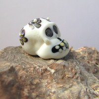 Trifolia Skull Bead glass handmade lampwork focal floral Halloween or Day of the Dead