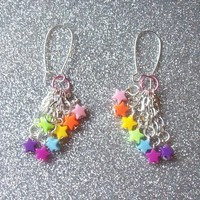 Rainbow Candy )) - Rainbow Brite Inspired Shooting Star Earrings from On Secret Wings