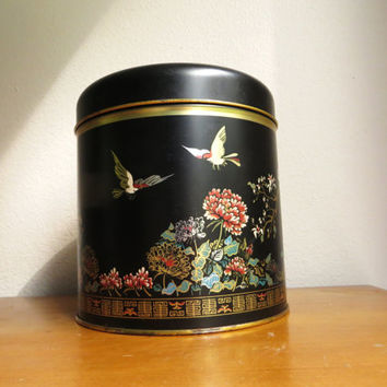 Vintage Asian Cookie Tin, Large Black Tin, Asian Motif, Birds, Flowers, Trees, Gold Trim, Container