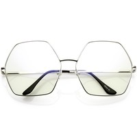 Oversize Hexagonal Eye Glasses With Clear Lens 67mm