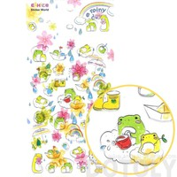 Adorable Frog Toad Froggy Floating on Clouds Shaped Jelly Stickers for Scrapbooking and Decorating