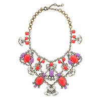 Crystal color stone statement necklace