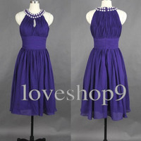 2014 Purple Vintage Chiffon Prom Dress Evening Party Homecoming Bridesmaid Cocktail Formal Dress New Arrival Lovely Bridesmaid Dress