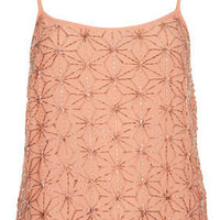 Flower Embellished Bead Cami - Cami's & Vest Tops - Tops  - Clothing