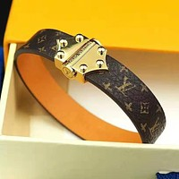 LV Louis Vuitton Fashion Women Men Retro Leather Buckle Bracelet Hand Catenary Jewelry Accessories