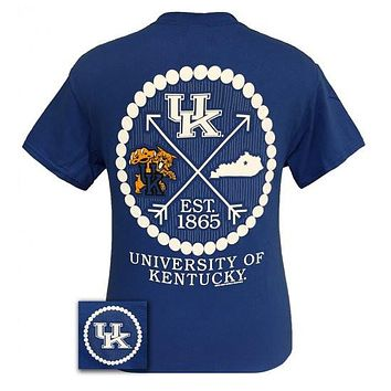 SALE UK Kentucky Wildcats Big Blue Preppy Arrow Pearls Girlie Bright T Shirt