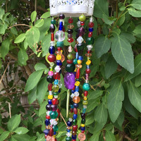 Beaded Mobile, Hanging Beads, Wind Chimes, Recycled Jewelry Art, Hanging Garden Yard Art, Beaded Sun Catcher, Repurposed Upcycled Crafts