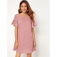 SHEIN Ruffle Cuff Polka Dot Print Dress