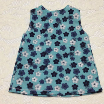 Blue and White Flower Short Dress/Long Shirt: fits American Girl and most 18 in dolls