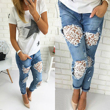 Fashion Casual Ripped Hollow Lace Stitching Long Pants Jeans