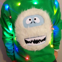 Light Up UGLY CHRISTMAS SWEATER - Abominable Snowman - Bumble!!! (Also available in Hoodie and Kid's Sizes!)  _____**Fast Shipping**_____