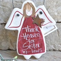 Sister in Law Birthday Gift Angel Hand painted Salt Dough Ornament