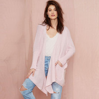Pink Double Pocket Long Sleeves Irregular Hem Knitted Sweater